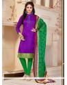Hypnotizing Print Work Purple Banglori Silk Churidar Salwar Kameez