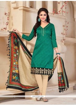 Regal Banglori Silk Green Print Work Churidar Salwar Kameez