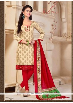 Appealing Print Work Cream Banglori Silk Churidar Designer Suit