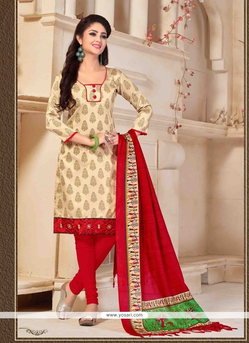 Appealing Print Work Cream Banglori Silk Churidar Designer Suit