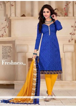 Superlative Print Work Blue Banglori Silk Churidar Salwar Kameez