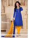 Superlative Print Work Blue Banglori Silk Churidar Salwar Kameez