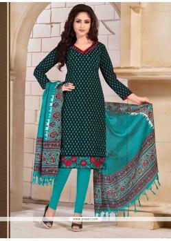 Congenial Print Work Churidar Salwar Suit