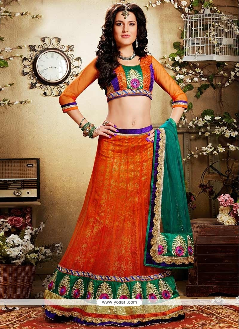 Graceful Orange Floral Jacquard Net Lehenga Choli