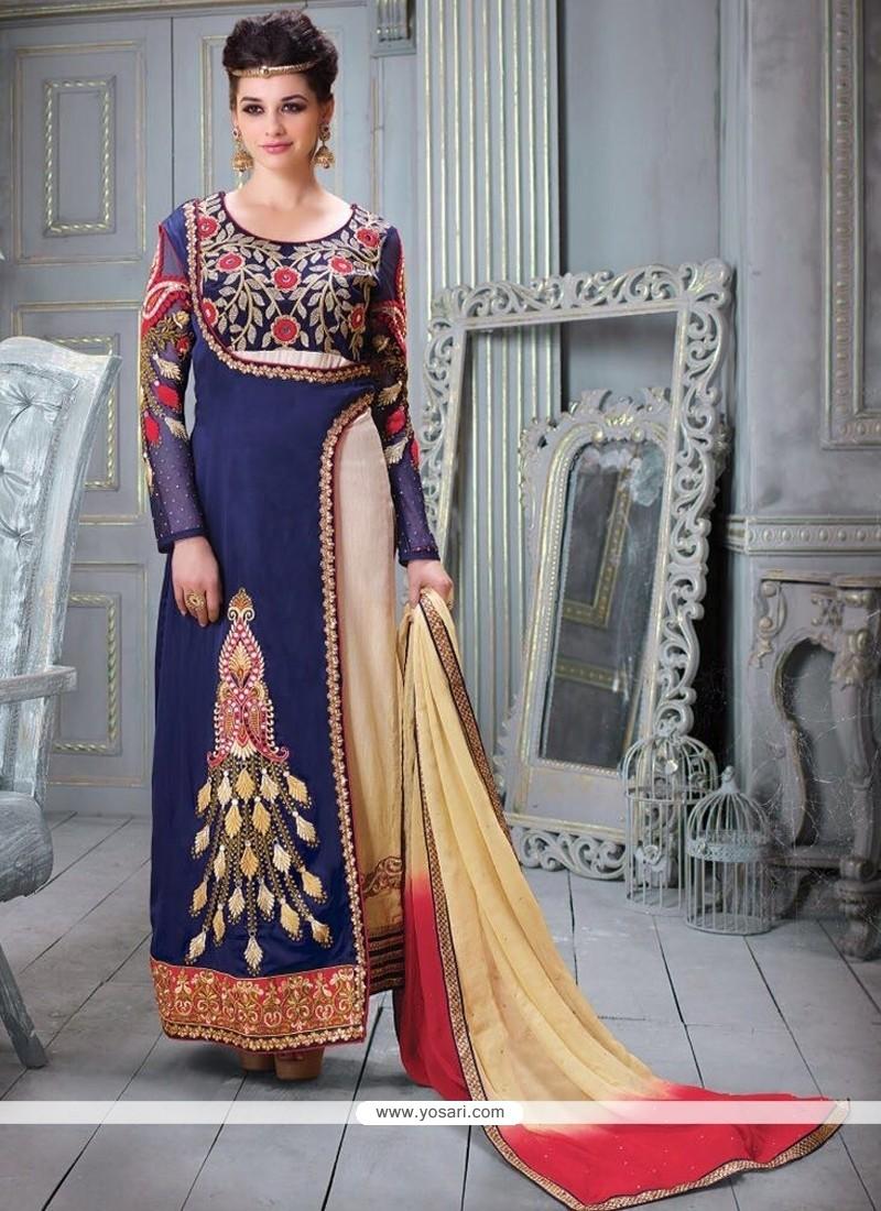 Desirable Resham Work Blue Silk Designer Straight Salwar Kameez