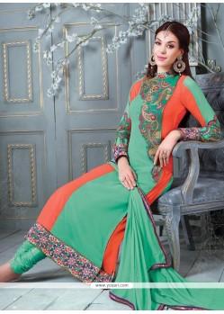 Enticing Resham Work Sea Green Churidar Salwar Suit