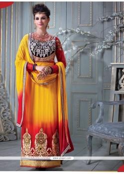 Chic Net Yellow Zari Work Designer Straight Salwar Suit