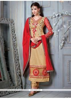 Artistic Lace Work Designer Straight Salwar Kameez