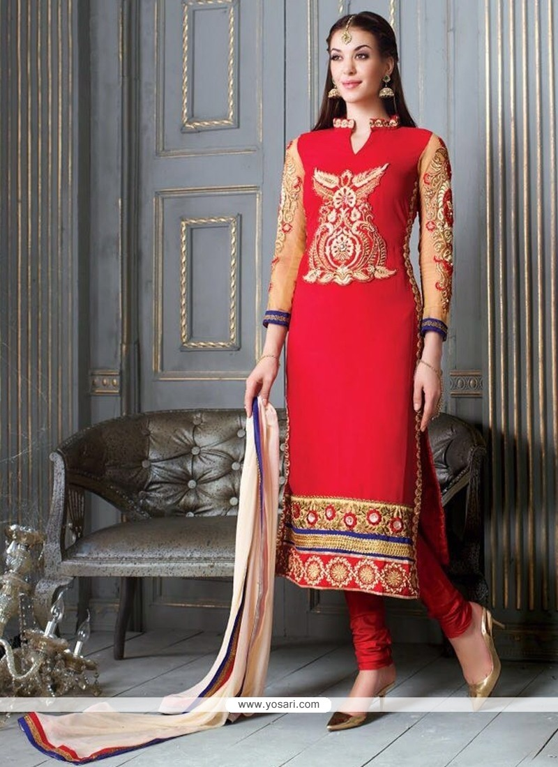 Customary Red Churidar Salwar Kameez