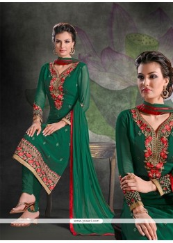 Lustrous Green Embroidered Work Georgette Churidar Salwar Suit