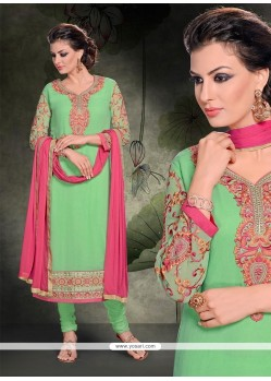 Lively Resham Work Sea Green Churidar Salwar Kameez