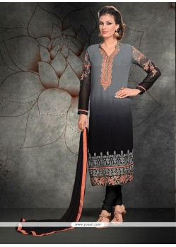 Piquant Grey Lace Work Churidar Designer Suit