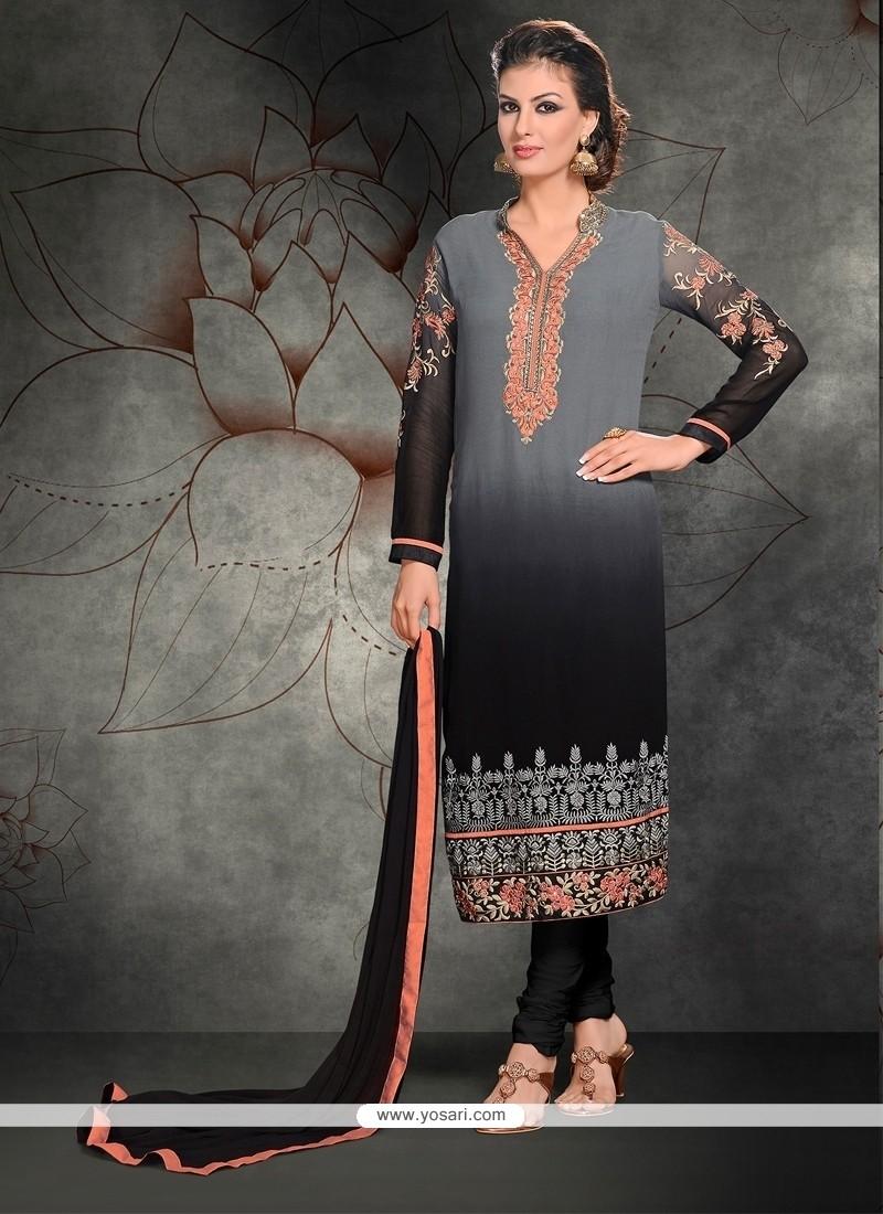 Piquant Grey Lace Work Churidar Designer Suit