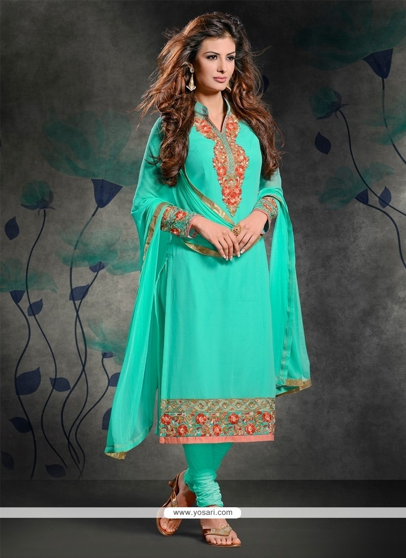 Monumental Resham Work Georgette Churidar Salwar Suit