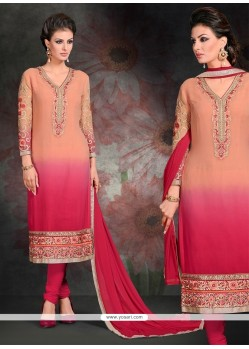 Intrinsic Georgette Hot Pink Embroidered Work Churidar Salwar Kameez