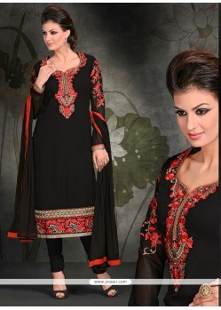Vehemently Black Resham Work Georgette Churidar Designer Suit
