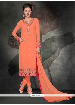 Genius Peach Lace Work Churidar Salwar Suit