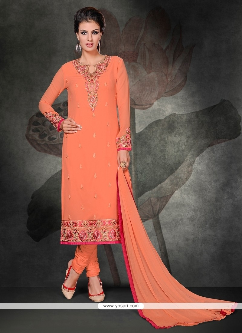 Genius Peach Lace Work Churidar Salwar Suit