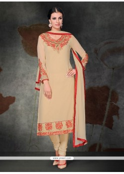 Exuberant Georgette Cream Embroidered Work Churidar Salwar Kameez