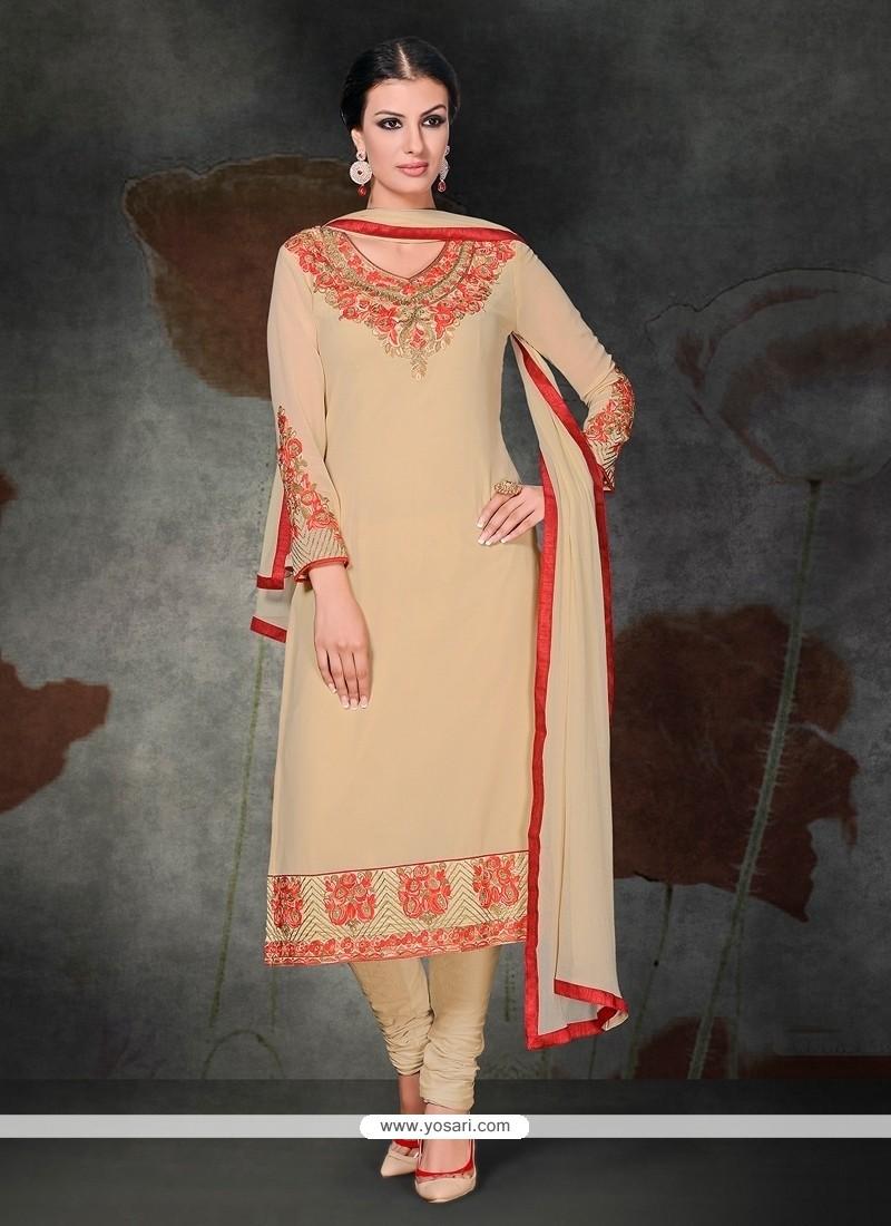 Exuberant Georgette Cream Embroidered Work Churidar Salwar Kameez