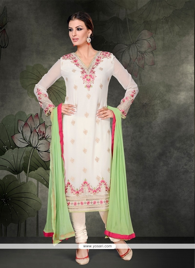 Catchy Embroidered Work Georgette White Churidar Salwar Suit