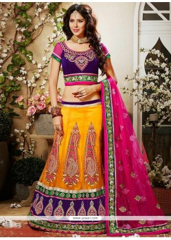 Beautiful Orange Hemline And Net Lehenga Choli