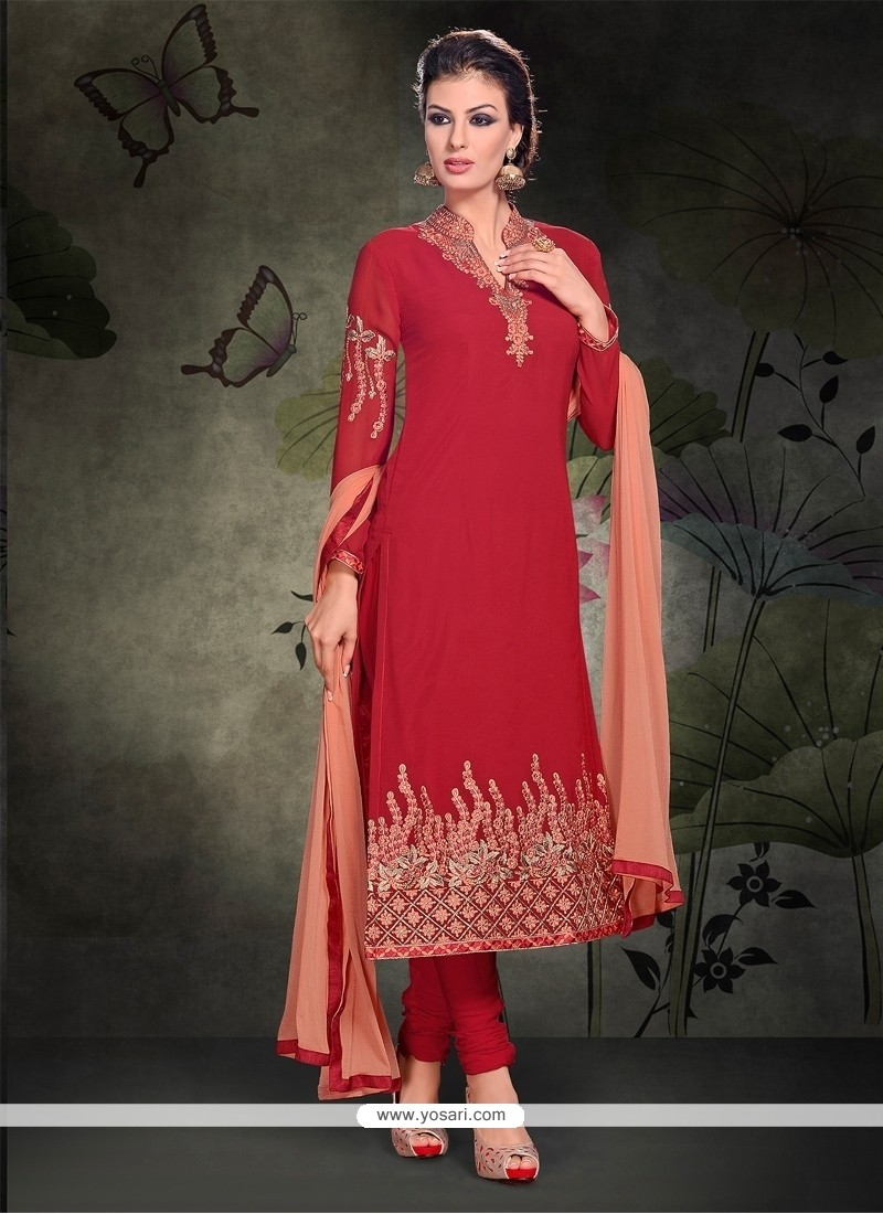 Princely Lace Work Red Georgette Churidar Salwar Kameez