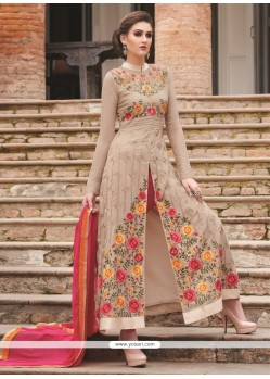 Enthralling Embroidered Work Beige Designer Salwar Suit