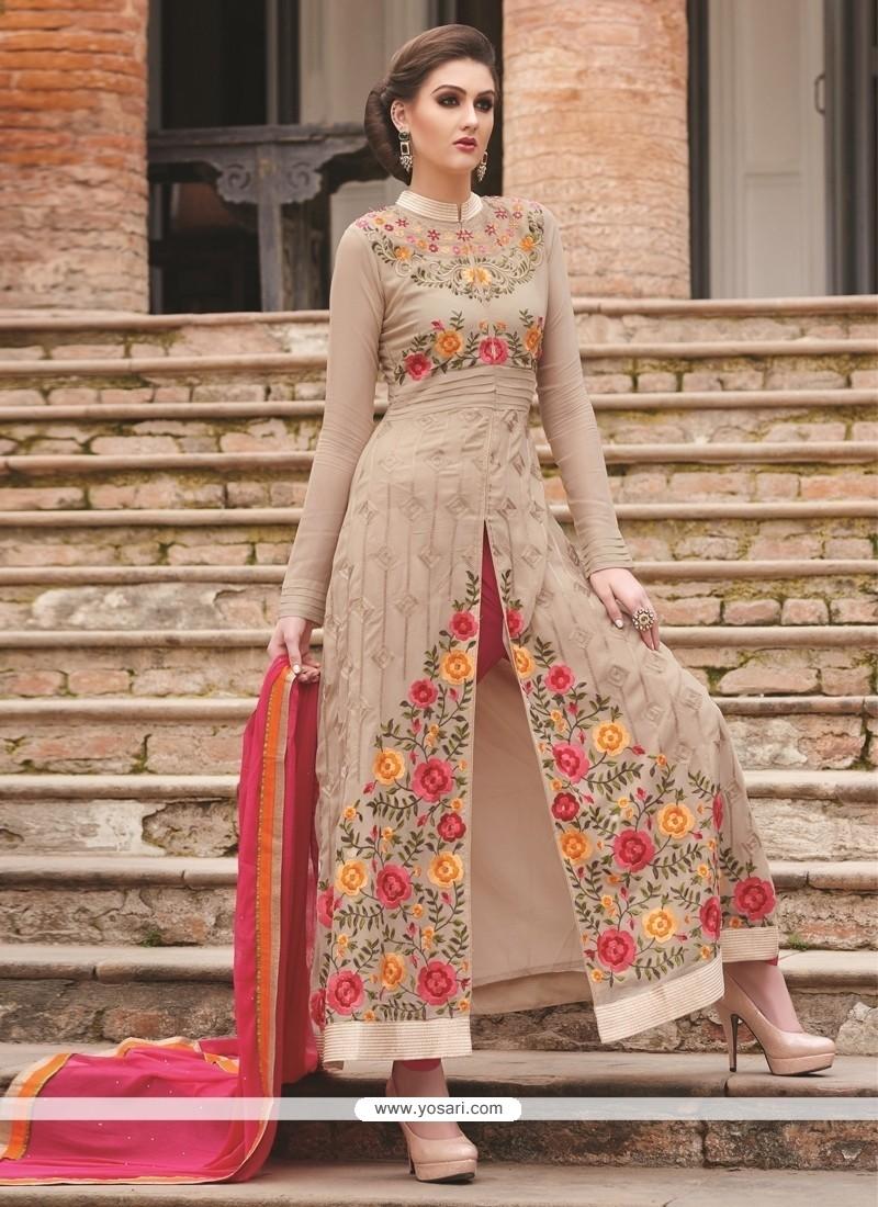Enthralling Embroidered Work Beige Designer Salwar Suit