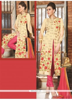 Preferable Cream Designer Straight Salwar Kameez