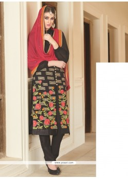 Innovative Black Lace Work Georgette Churidar Salwar Suit