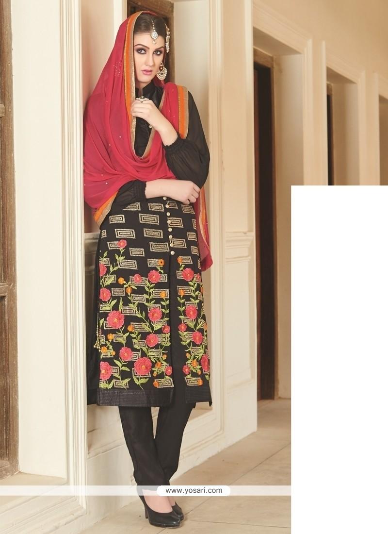 Innovative Black Lace Work Georgette Churidar Salwar Suit