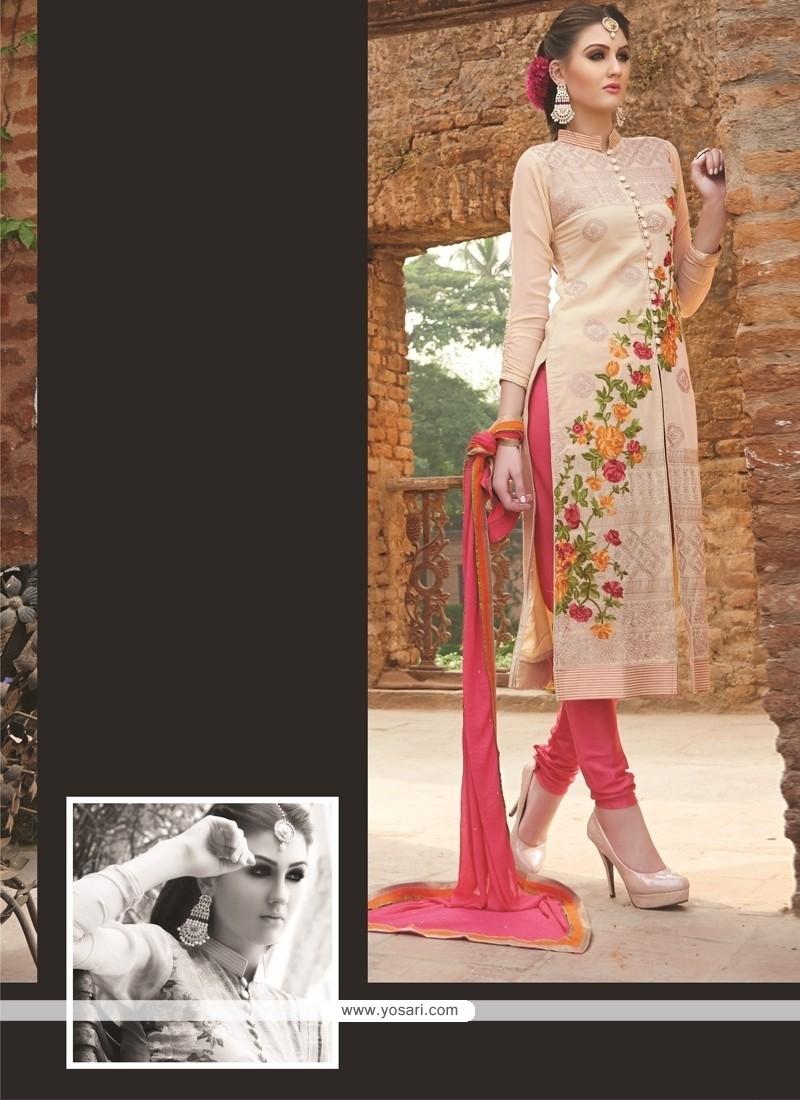 Elegant Lace Work Georgette Churidar Salwar Kameez