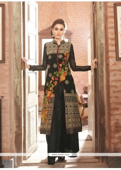 Beauteous Embroidered Work Black Designer Salwar Suit