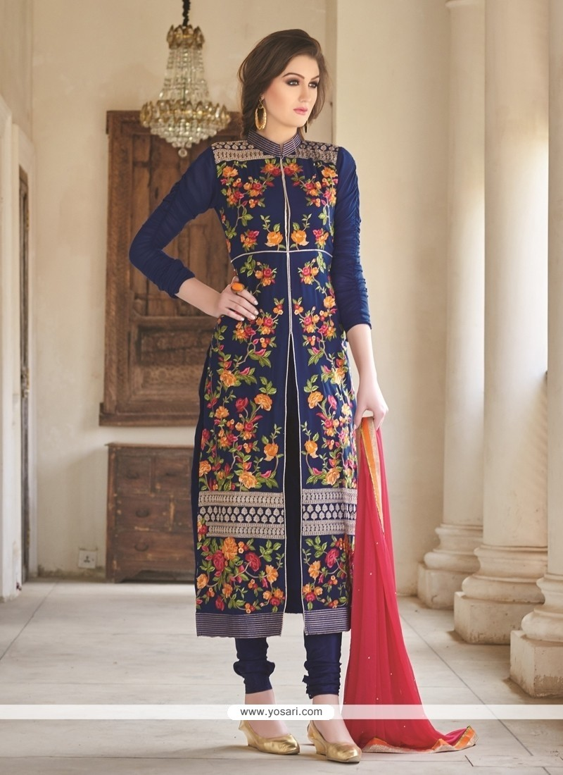 Vehemently Georgette Blue Designer Straight Suit