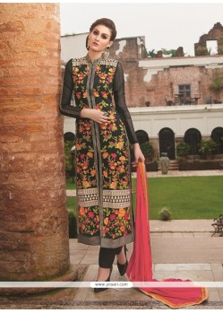 Blissful Embroidered Work Black Georgette Designer Straight Salwar Suit