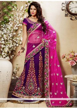 Lovely Purple Embroidered Velvet Lehenga Choli