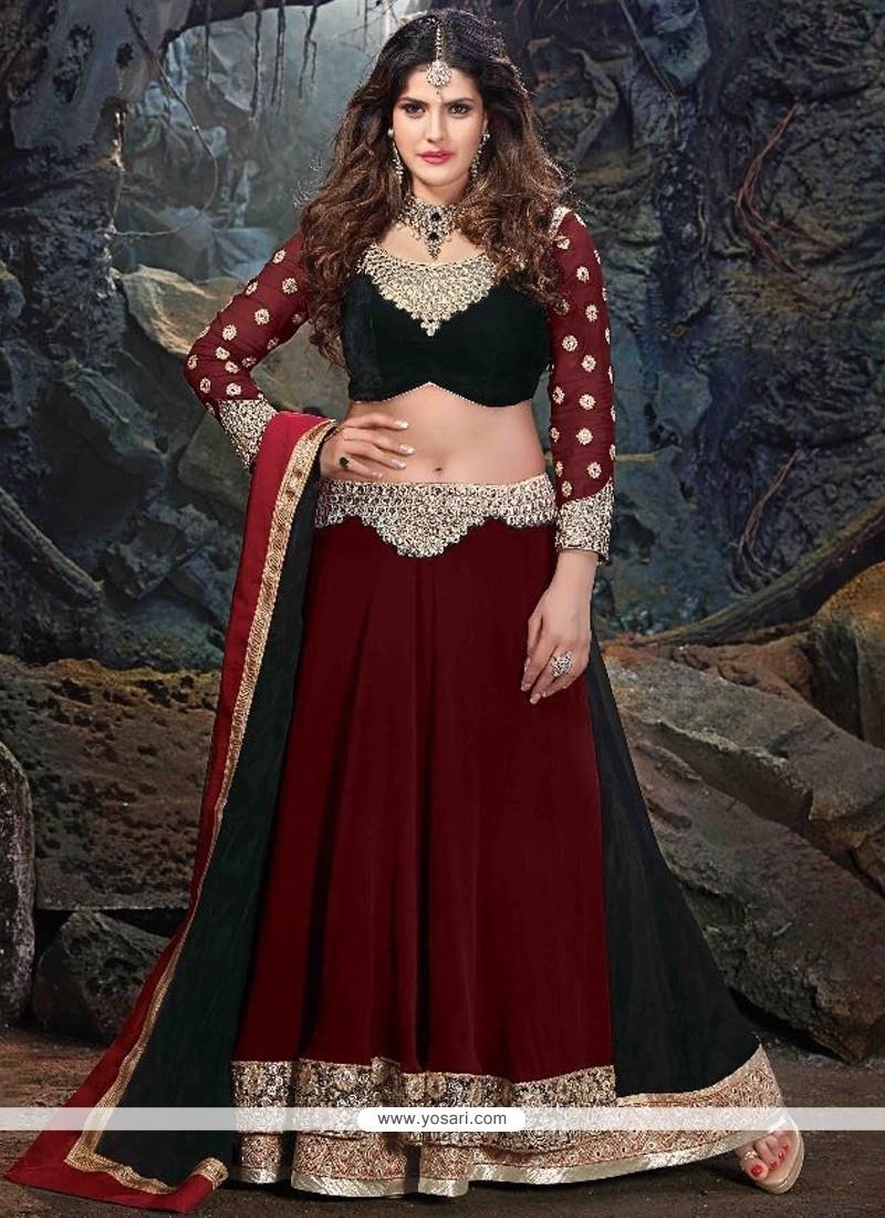 Zarine Khan Maroon Resham Work A Line Lehenga Choli