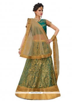 Sensational Net Green A Line Lehenga Choli