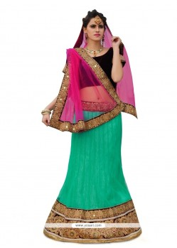 Impressive Green Patch Border Work A Line Lehenga Choli