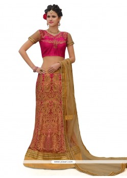 Hot Pink Resham Work A Line Lehenga Choli