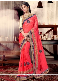 Gorgonize Pink Patch Border Work Shimmer Georgette Designer Saree