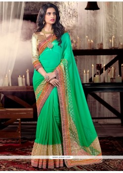 Glossy Patch Border Work Sea Green Shimmer Georgette Designer Saree