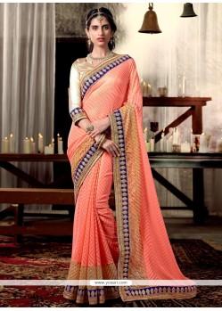 Celestial Peach Designer Saree