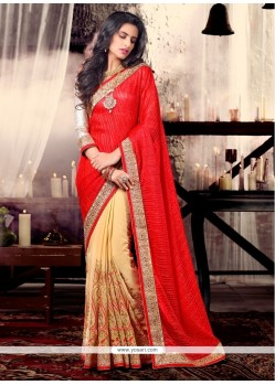 Beige And Red Patch Border Work Shimmer Georgette Designer Saree