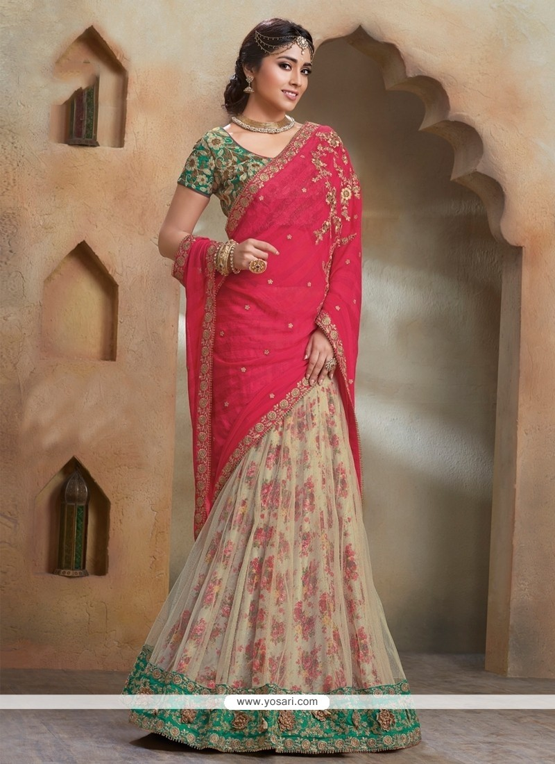Catchy Patch Border Work Cream And Hot Pink Designer Saree