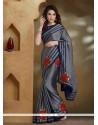 Gleaming Grey Lace Work Chiffon Satin Designer Saree