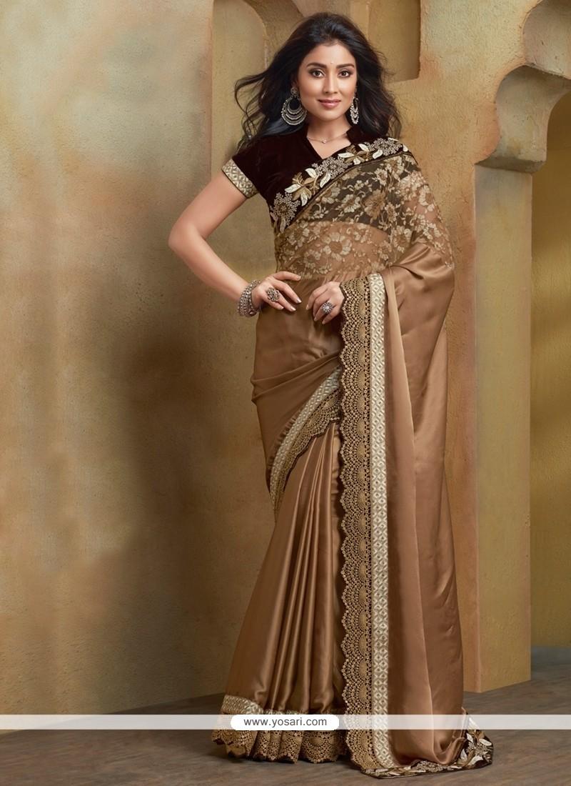 Beautiful Gold Resham Work Net Designer Saree