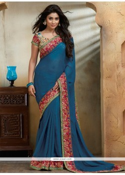 Sensational Jute Silk Blue Embroidered Work Designer Saree