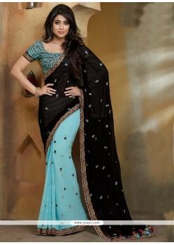 Mesmeric Black Faux Chiffon Designer Saree